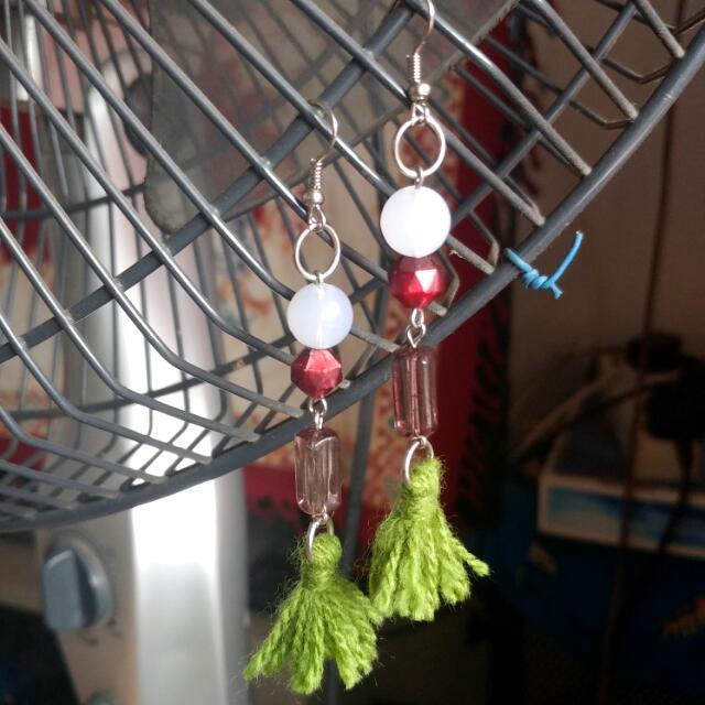 Green Pom Earrings