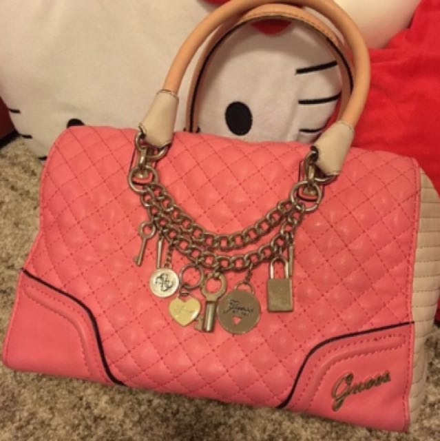 GUESS Boston Bag In Pink Great Condition