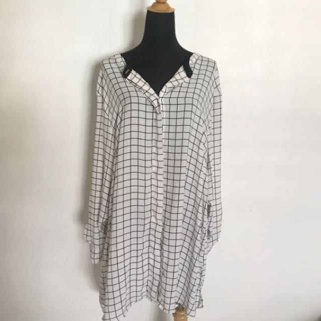 H&m + Plus Size Checkered Shirt Or Can Make Us Shirt Dress