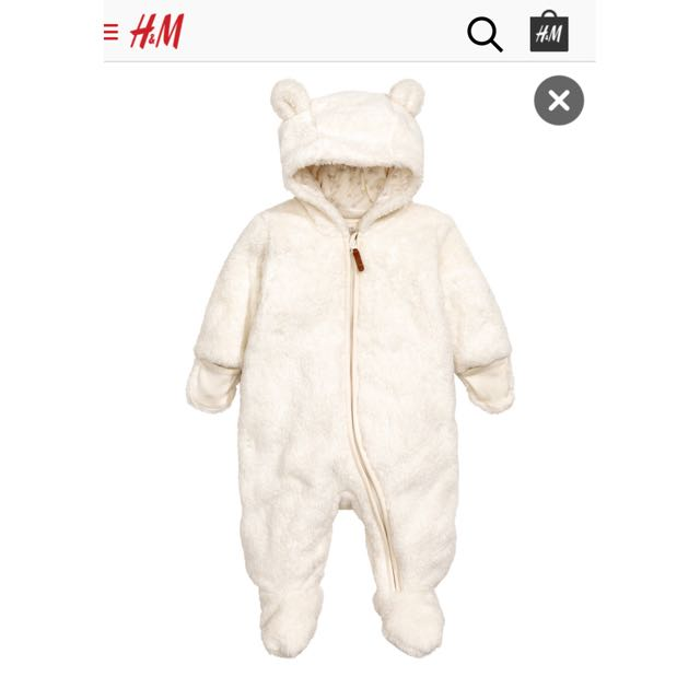 H&M Pile Snuggle Suit Onesie Natural White 2-4 months