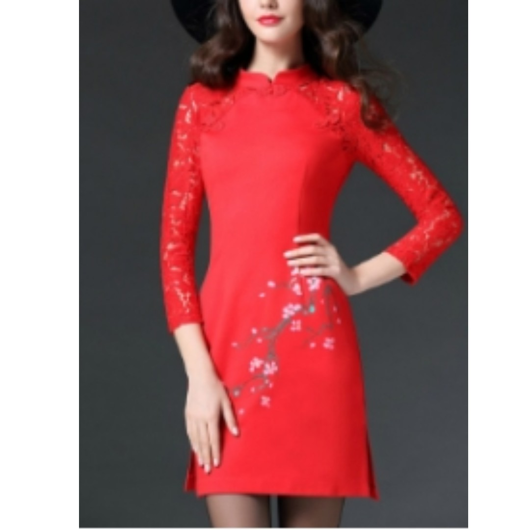 HQ 15956 Flower Paint Lace Cheongsam (RED)