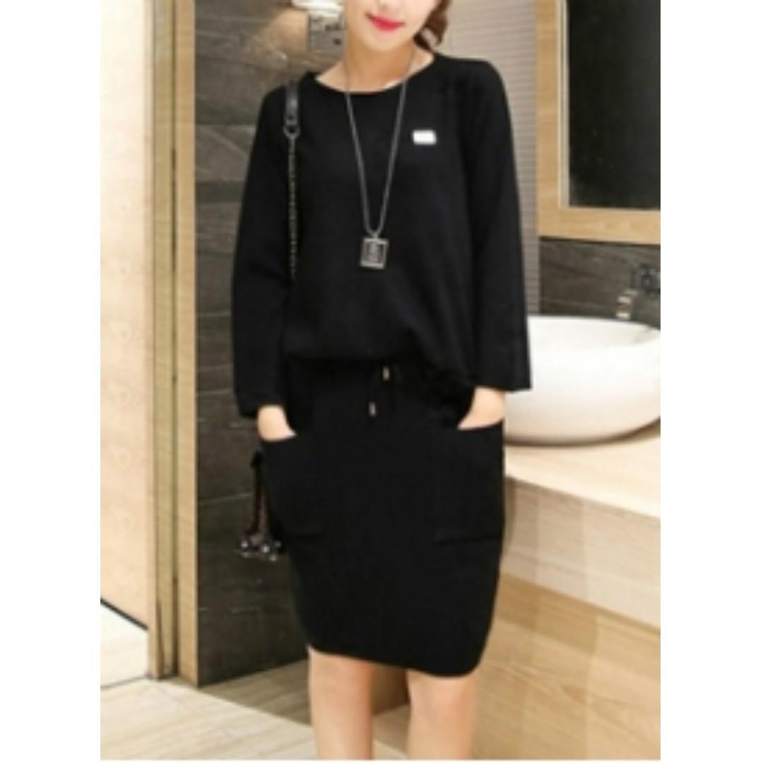 HQ 15975 Pocket SET Top+Skirt (BLACK)