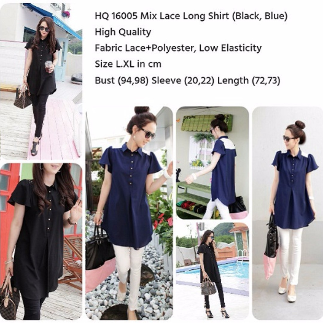 HQ 16005 Mix Lace Long Shirt (BLACK)