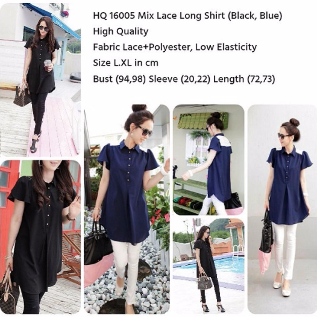 HQ 16005 Mix Lace Long Shirt (BLUE)