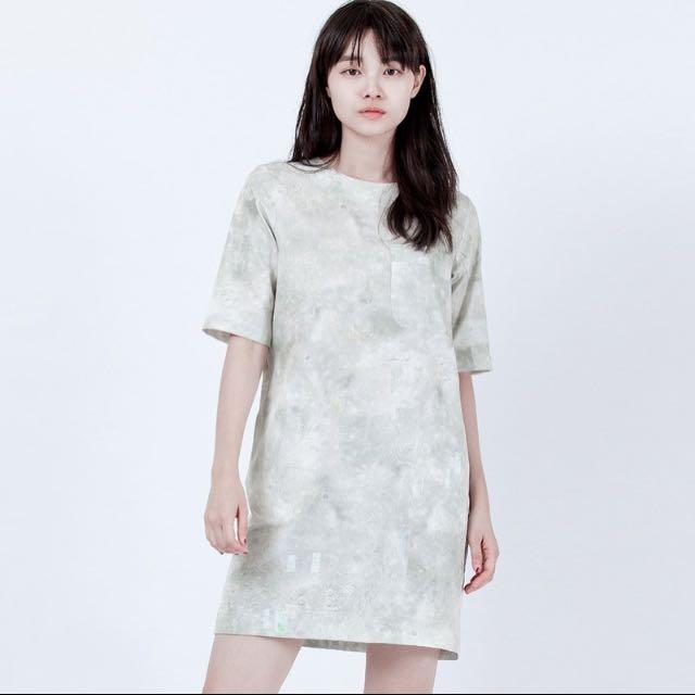 Iohll 月景亂碼口袋洋裝