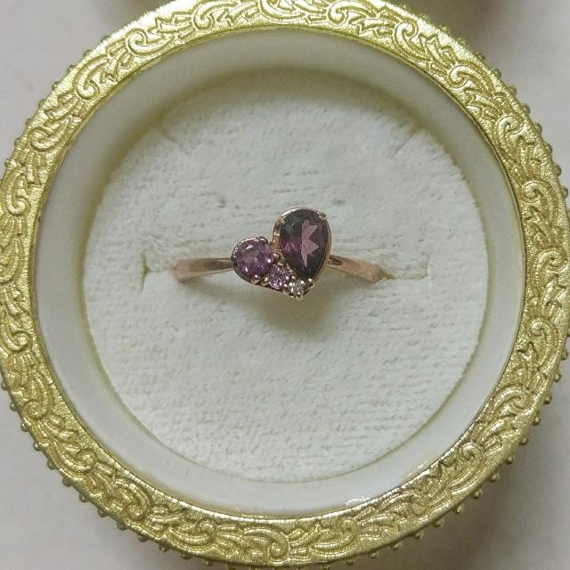 日本製-K10玫瑰金60分天然紫色碧璽+1分天然鑽石戒指 K金
