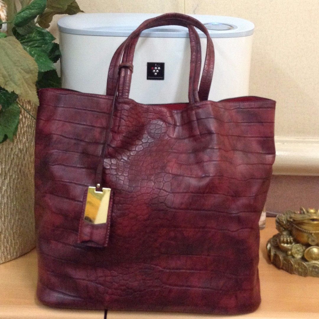 Leather Large Tote Bag - Maroon Snakeskin