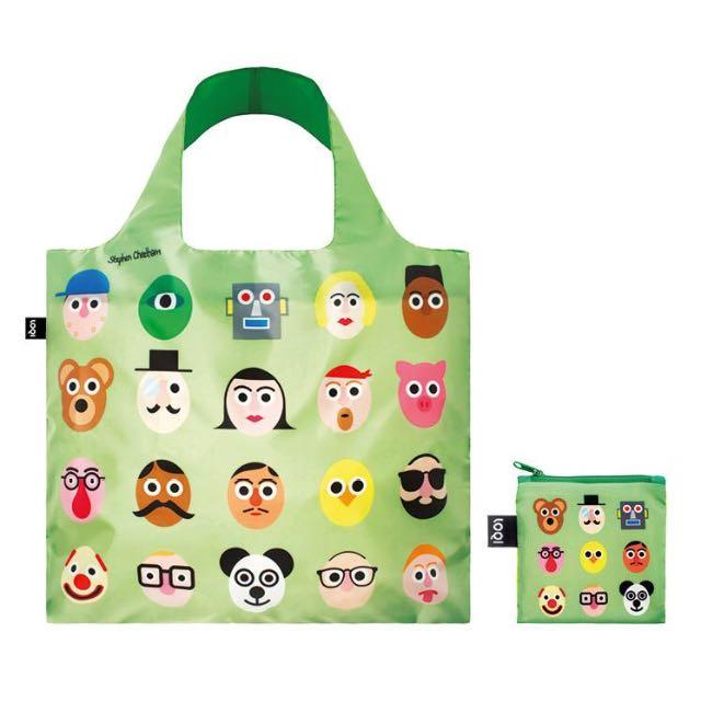 LOQI Stephen Cheetham Faces Bag 環保購物袋
