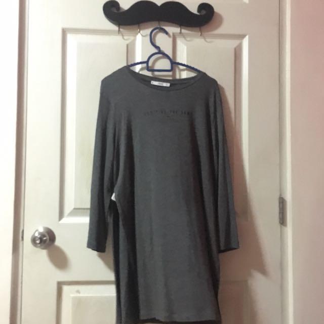 Mango Grey Slit Shirt