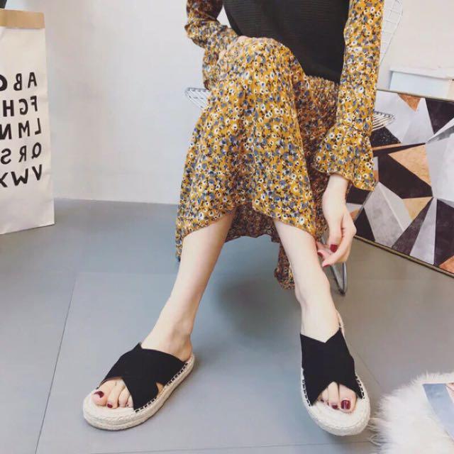 各大Model清單~交叉草編拖鞋 平底鞋 漁夫鞋