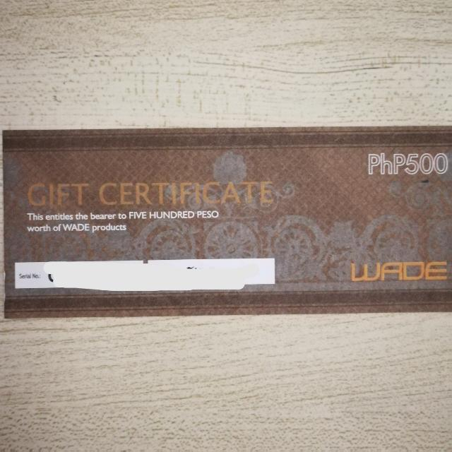 P500 Wade Gift Certificate