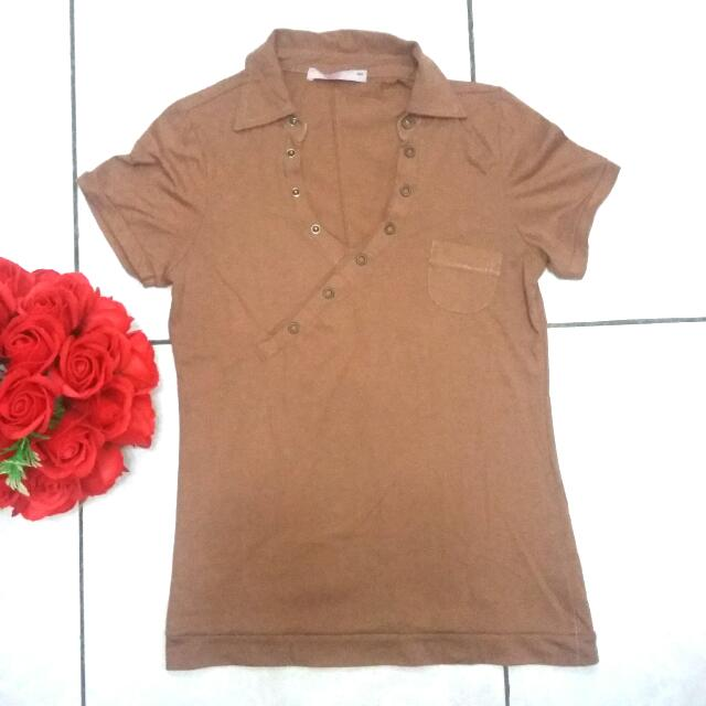 Plain Vneck Brown Polo Shirt