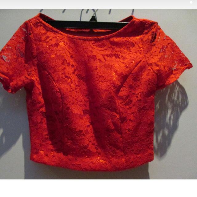Red Brokat Crop Top