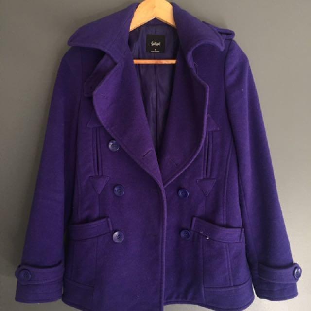 Sportsgirl Purple Coat Jacket 6