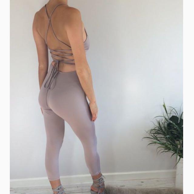 Taupe Lace Up Jumpsuit