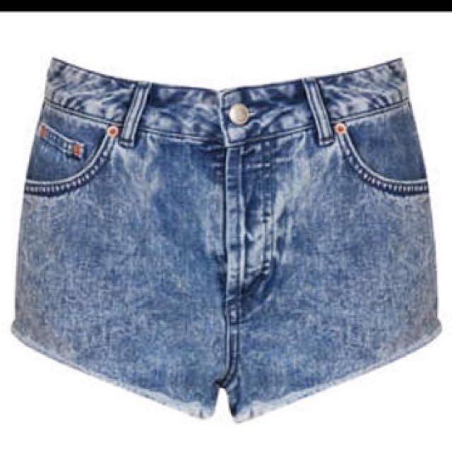 Topshop Acid Wash Denim Shorts