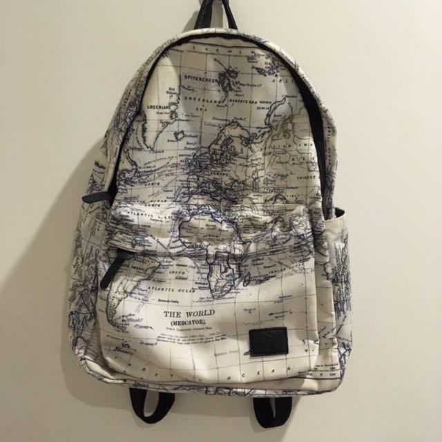 Typo world map backpack fesyen wanita beg dan beg duit di carousell photo photo photo photo photo gumiabroncs Gallery