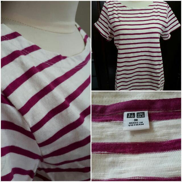 Uniqlo T-shirt Magenta Stripes