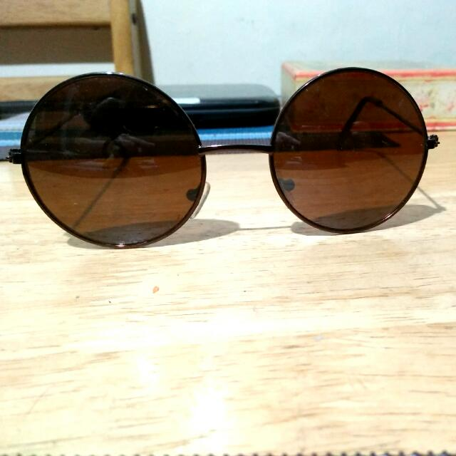 Vintage small round sunglasses - Brown