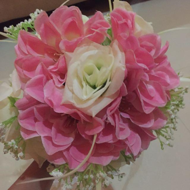 Wedding Handbouquet Kombinasi Pink Dan Putih