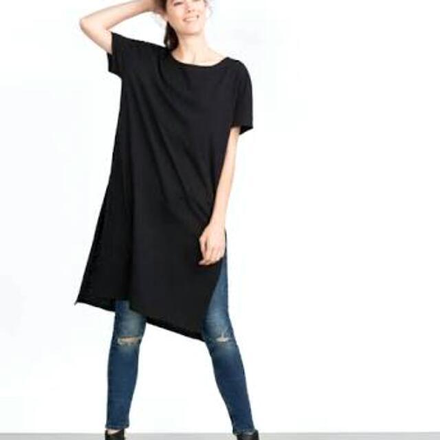 Zara Black Slit T-Shirt