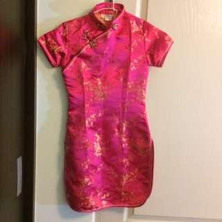桃紅兒童旗袍