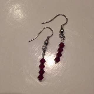 Dark Red Gem Earrings