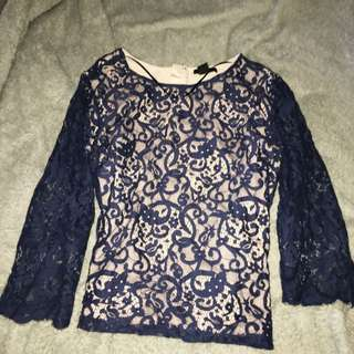 Lace Navy Blue Long Sleeve