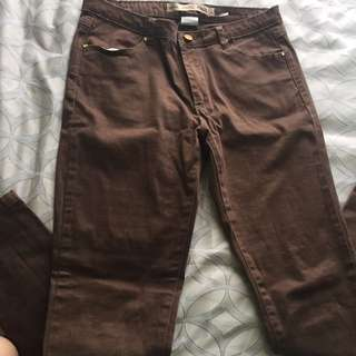 Grifflin Brown Jeans With Gold Accents
