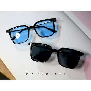 方形黑框墨鏡-太陽眼鏡-鏡框-復古-夏日-沙灘