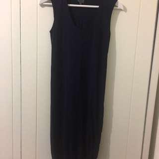 專櫃品牌CK深藍合身洋裝 短裙