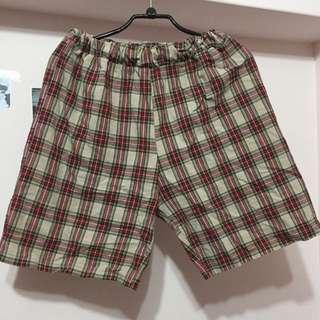 紅米格紋休閒褲
