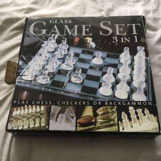 Glass chess, checkers and backgammon set