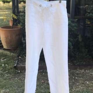 White Linen Pants Sussans Size 8