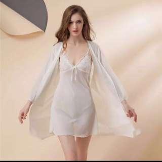 春夏深V雪紡兩件式睡衣裙 預購