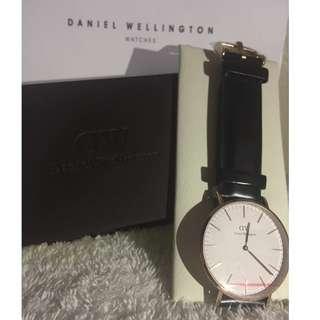 Authentic Daniel Wellington Black Leather Watch