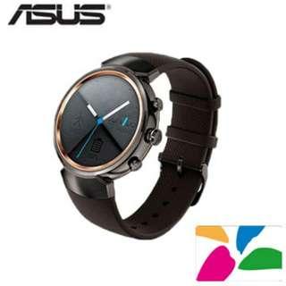 九成新 ASUS ZenWatch3 智慧錶-煙燻黑(附兩款表帶)