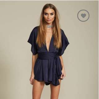 Lioness Navy Silky Playsuit