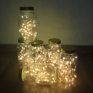 Fairy Lights In Jars And Gold Terrariums For Rent