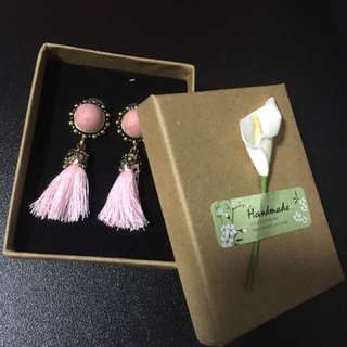 Pink Dangling Ear Stud