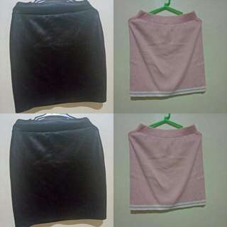 Black Leather And Pink Pencil Skirt