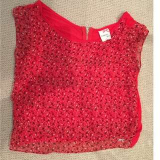 NWOT Size L Tommy Girl Layered Floral Red Crop Top.