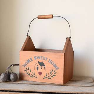 Vintage Wooden Country Style Box Planter with Handle
