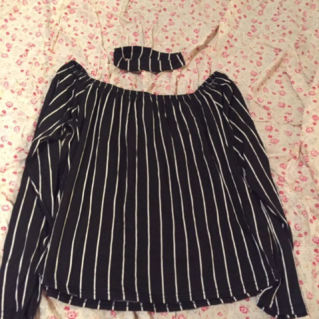 12 Striped Off Shoulder & Matching Neck Piece