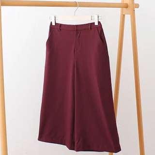 全新酒紅色七分闊腿褲 闊腳褲