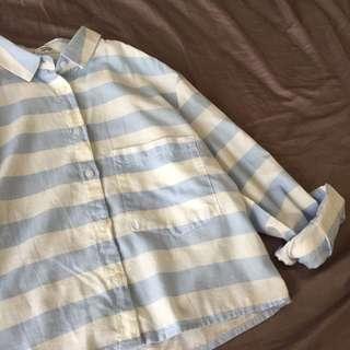 Mango 粉藍x白 舒服配色棉襯衫