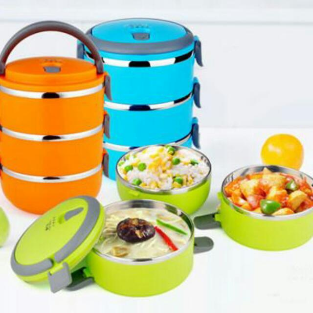 1-4 Layer Stainless Steel Mangkuk Tingkat, Kitchen & Appliances on Carousell