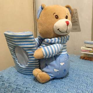 Blue Magic Stuffed Bear With Picture Frame