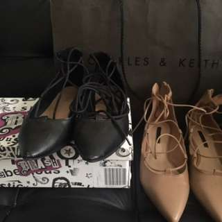 Charles And Keith And Payless Lace Up Flats