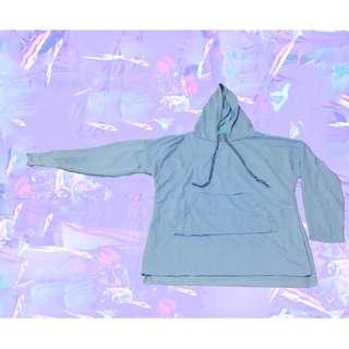 NEW ‼️新品| 純色寬鬆開叉連帽衛衣(藍)